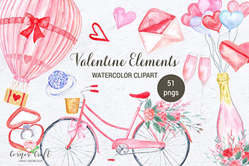 情人节常用水彩元素 Watercolor Valentine Elements