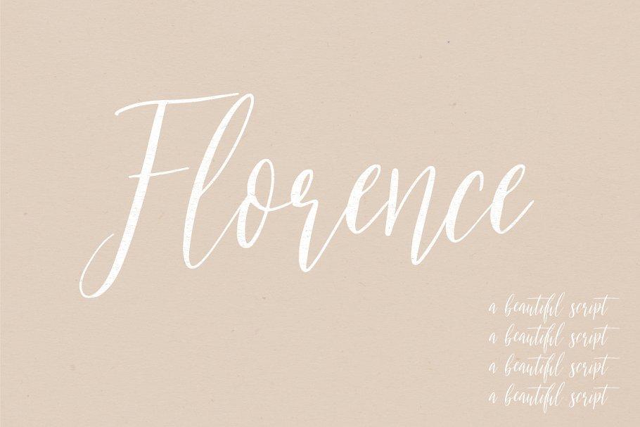 漂亮的手绘英文字体 Florence | A Beautiful sc<x>ript设计素材模板