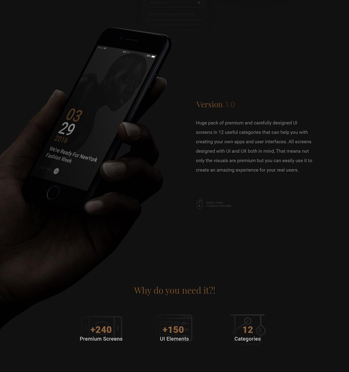非常高端的冷酷时尚黑金质感音乐播放APP UI KITS设计素材模板