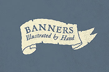 手绘复古风Banner标签素材 Hand Illustrated Banners
