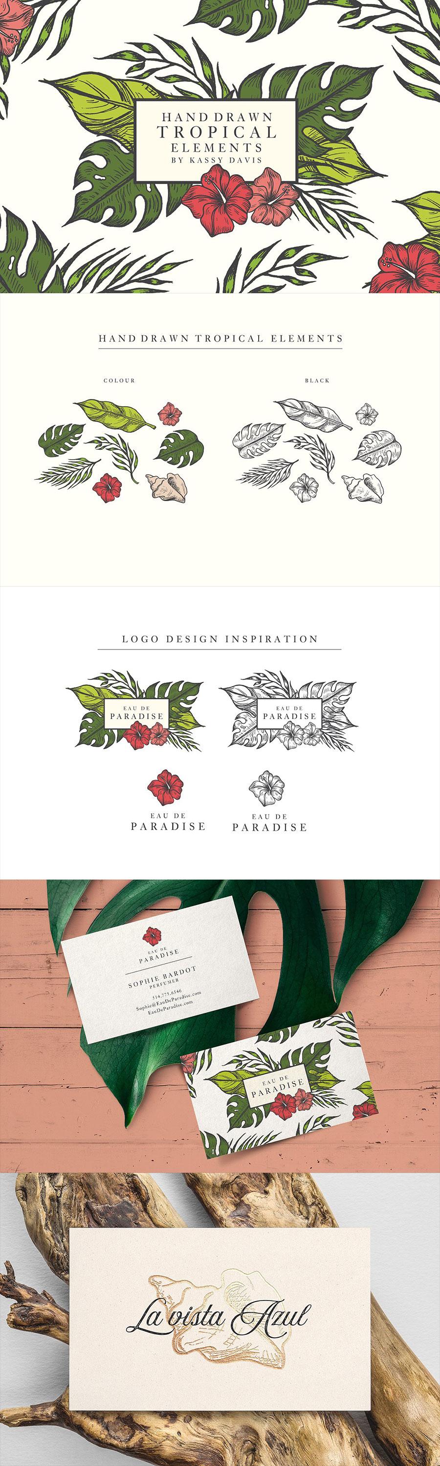 夏季手绘绿色树叶植物矢量素材下载[EPS]设计素材模板