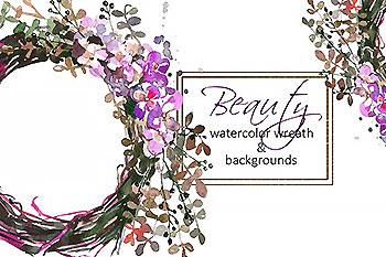 水彩花卉素材 Watercolor Floral Wreath Clip Art