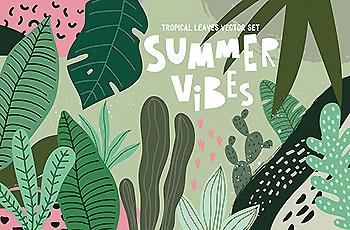 绿色热带植物树叶初夏背景纹理系列矢量素材下载[EPS]