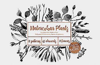 精美的手绘水墨风格植物树叶素材下载[PNG]
