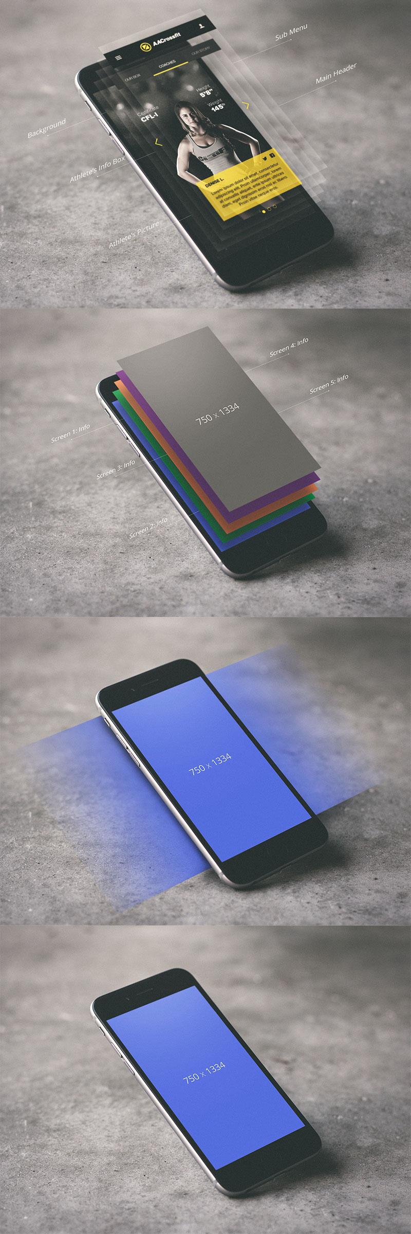 新鲜的酷炫手机APP分层展示模型样机贴图Mockup下载[PSD]设计素材模板