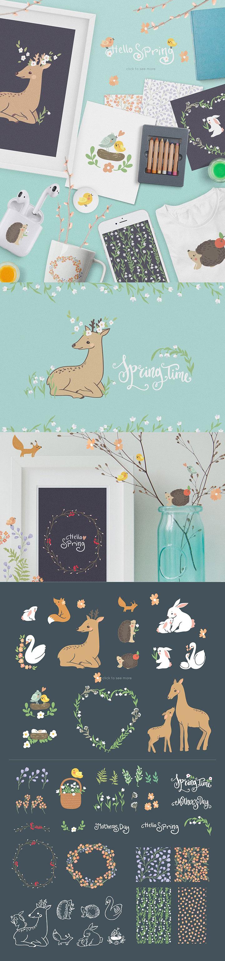 欧式春季风格的自然动物花卉元素打包下载[EPS]设计素材模板