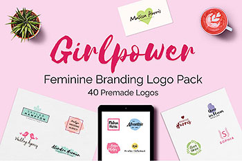 女性品牌logo制作集 GIRLPOWER Feminine Branding Logo Set