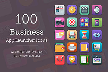 100套商业应用图标 100 Business App Icons Set