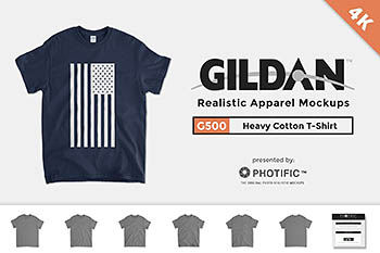 男士全棉T恤样机 Gildan 5000 Heavy Cotton T Mockups