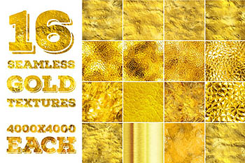 无缝金色背景纹理 16 seamless gold textures. High res.