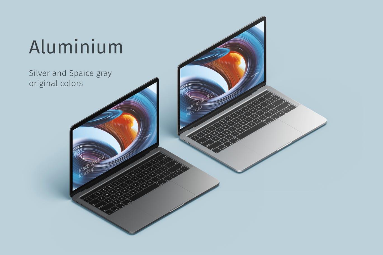 高品质稀有的时尚个性2.5D等轴等距Macbook PRO笔记本电脑VI样机展示模型mockups设计素材模板