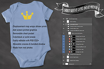 婴儿连体短袖样机模型 Apparel Mock Up- Baby Onesie Tester