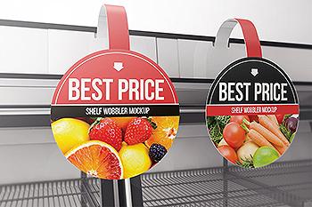 超市货架圆形品牌/促销广告牌样机模板 Circle Shelf Wobbler Mockup