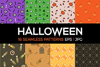 万圣节元素背景 16 spooky Halloween patterns
