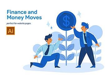 金融货币流通相关的互联网概念插画下载[Ai]