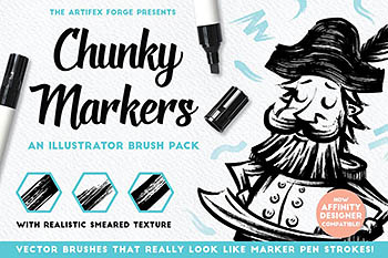 马克笔效果的Ai笔刷 Chunky Markers – Illustrator Brushes