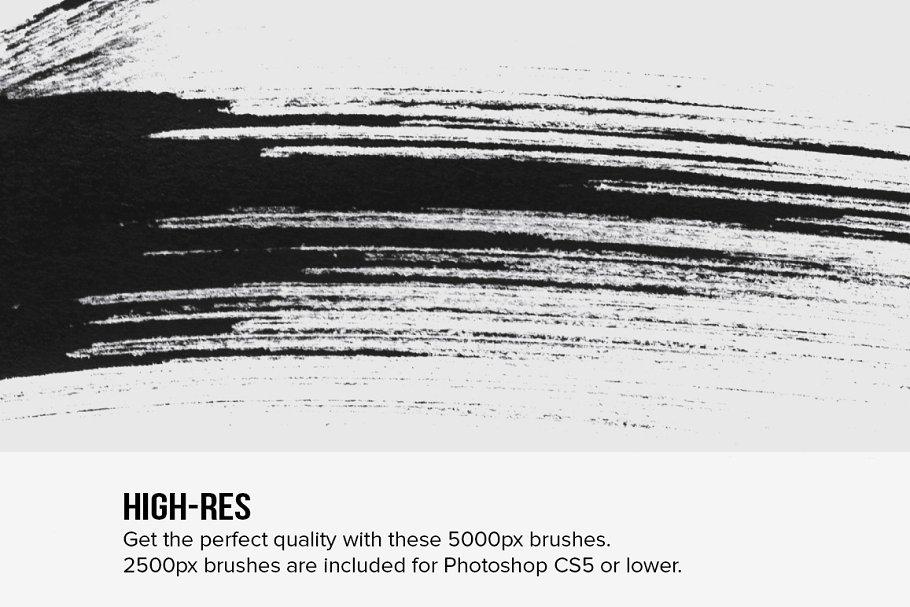 毛笔墨笔干拖笔刷效果 82 Sumi-E Ink Strokes设计素材模板