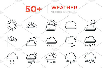 50+天气矢量图标 50+ Weather Vector Icons
