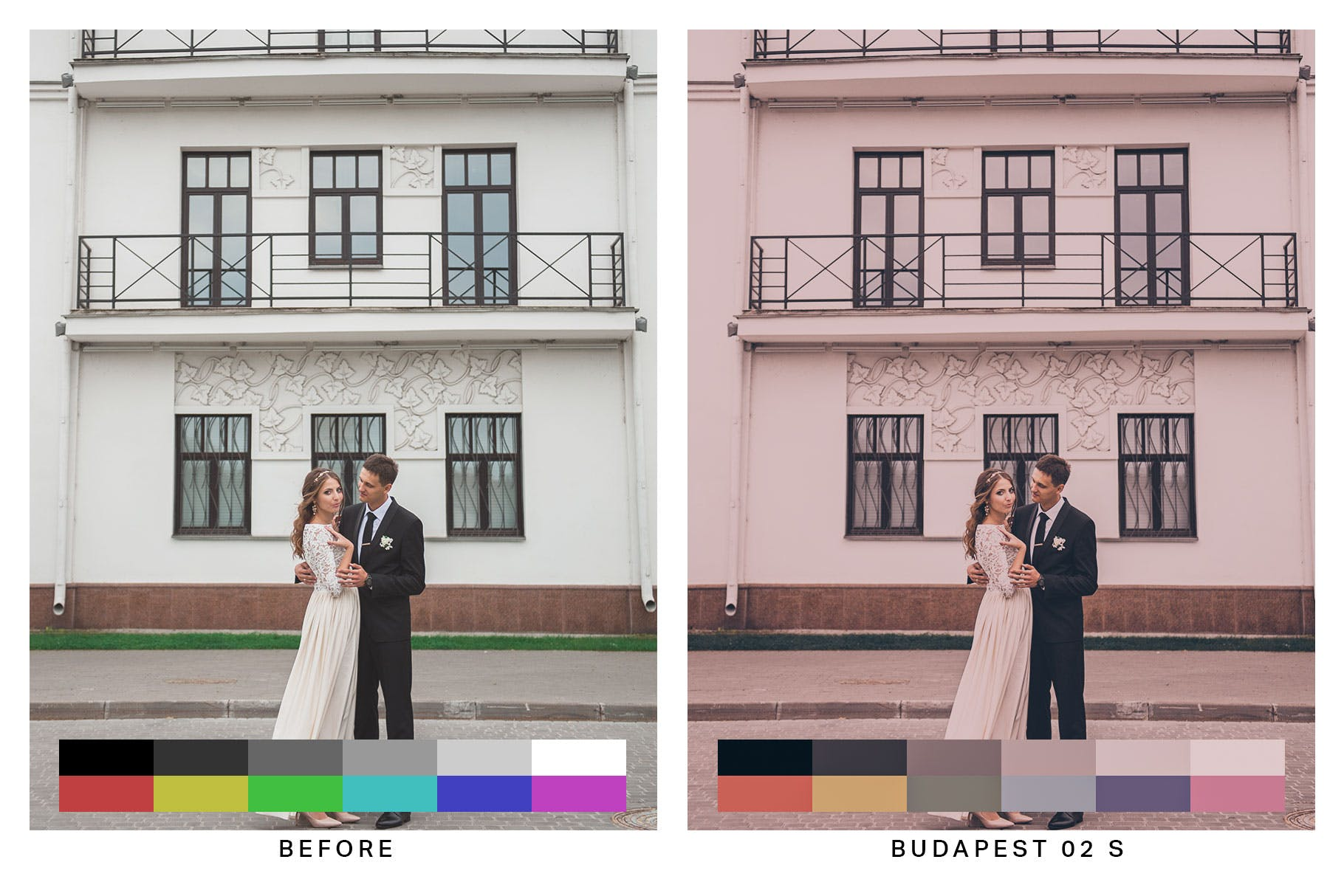 50款经典电影胶片色调Lightroom预设&LUT 50 Budapest Pink Lightroom Presets and LUTs设计素材模板