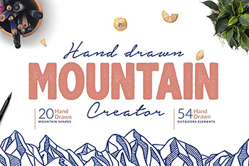 logo设计手绘平面素材模板 Hand Drawn Mountain Creator Kit
