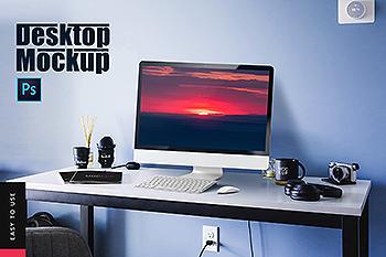 工作室场景一体机电脑屏幕预览样机v2 Desktop Mockup