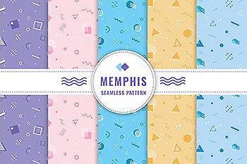 孟菲斯风格连续四方图案无缝背景素材 Memphis Seamless Pattern Collection