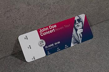 时尚高端逼真质感的高品质音乐会演唱会门票设计VI样机展示模型mockups