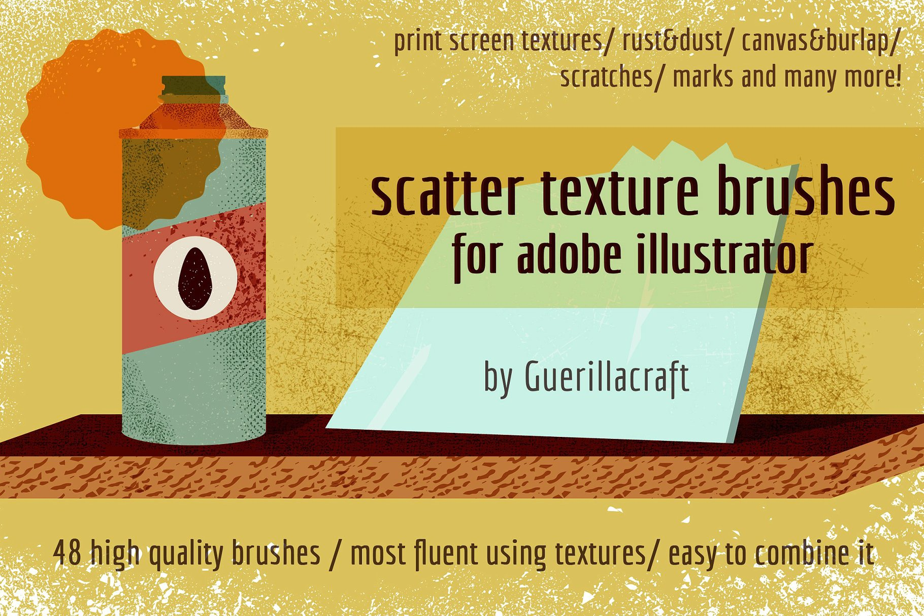 AI笔刷纹理素材 Scatter texture brushes for AI设计素材模板