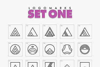 logo素材极简主义几何 Minimal Geometric Logo Marks Bundle
