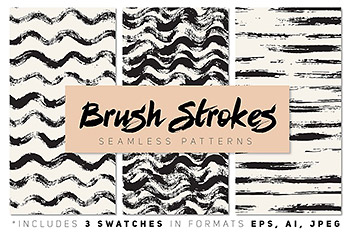 笔刷无缝图案背景纹理 Brush Strokes Seamless Patterns