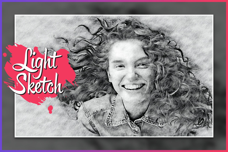 照片铅笔素描效果一键生成PS动作 Light Sketch CS4+ Photoshop Action设计素材模板