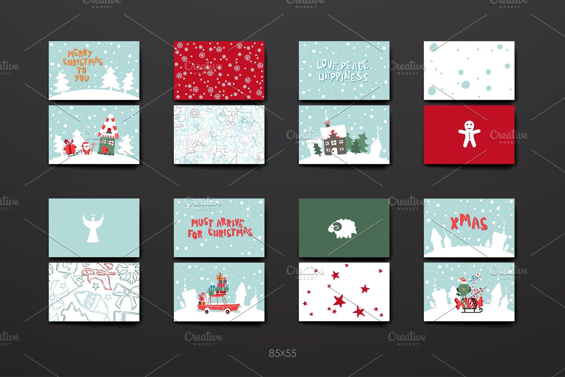 免费的圣诞节矢量素材 Merry Christmas Card Template设计素材模板