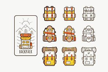 户外徒步背包旅行矢量图标icon集合