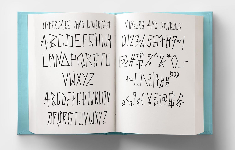 独特笔画创意英文手写字体 Cyber Trunk – Handwritten Font设计素材模板