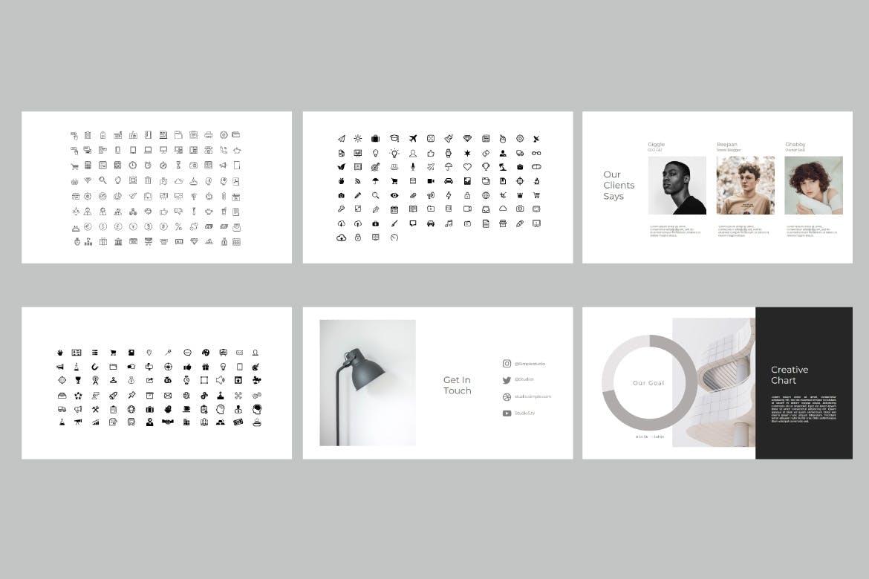 大气有创意的时尚极简主义PPT模板[PPTX]设计素材模板