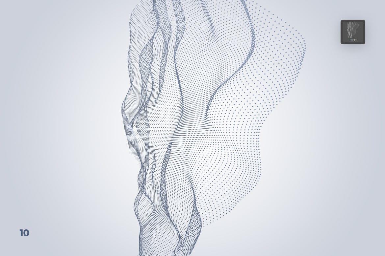 高品质的时尚高端科技感极强的数字波浪粒子Photoshop笔刷大集合设计素材模板
