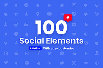 UI图标100个高品质的时尚高端社交媒体图标icon大集合