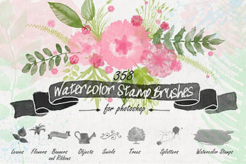 水彩花卉笔刷 Floral Watercolor PS Stamp Brushes