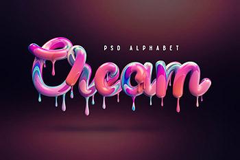 融化的奶油3D彩色特效英文字体