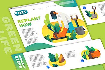 植物移植种植环境主题矢量图形素材 Replant Plant layout