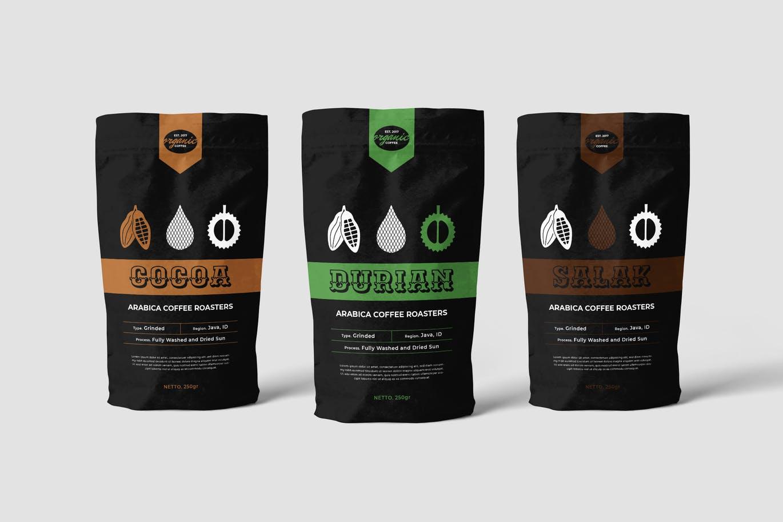 逼真干净易于使用的咖啡包装设计VI样机展示模型mockups设计素材模板