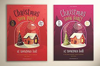 圣诞节主题派对邀请传单设计模板 Christmas Snow Party Flyer
