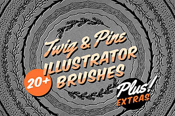 枝状和杉木图形的Ai画笔素材 Twig & Pine Illustrator Brushes