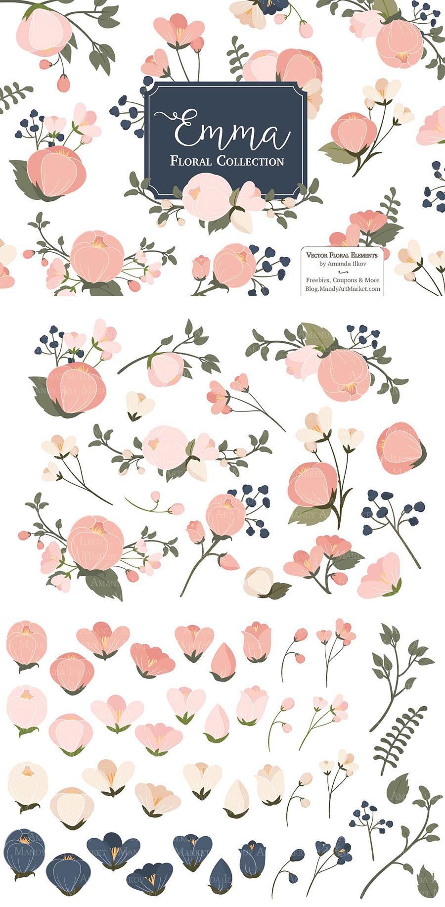 粉红的花卉矢量装饰素材下载[Ai]设计素材模板