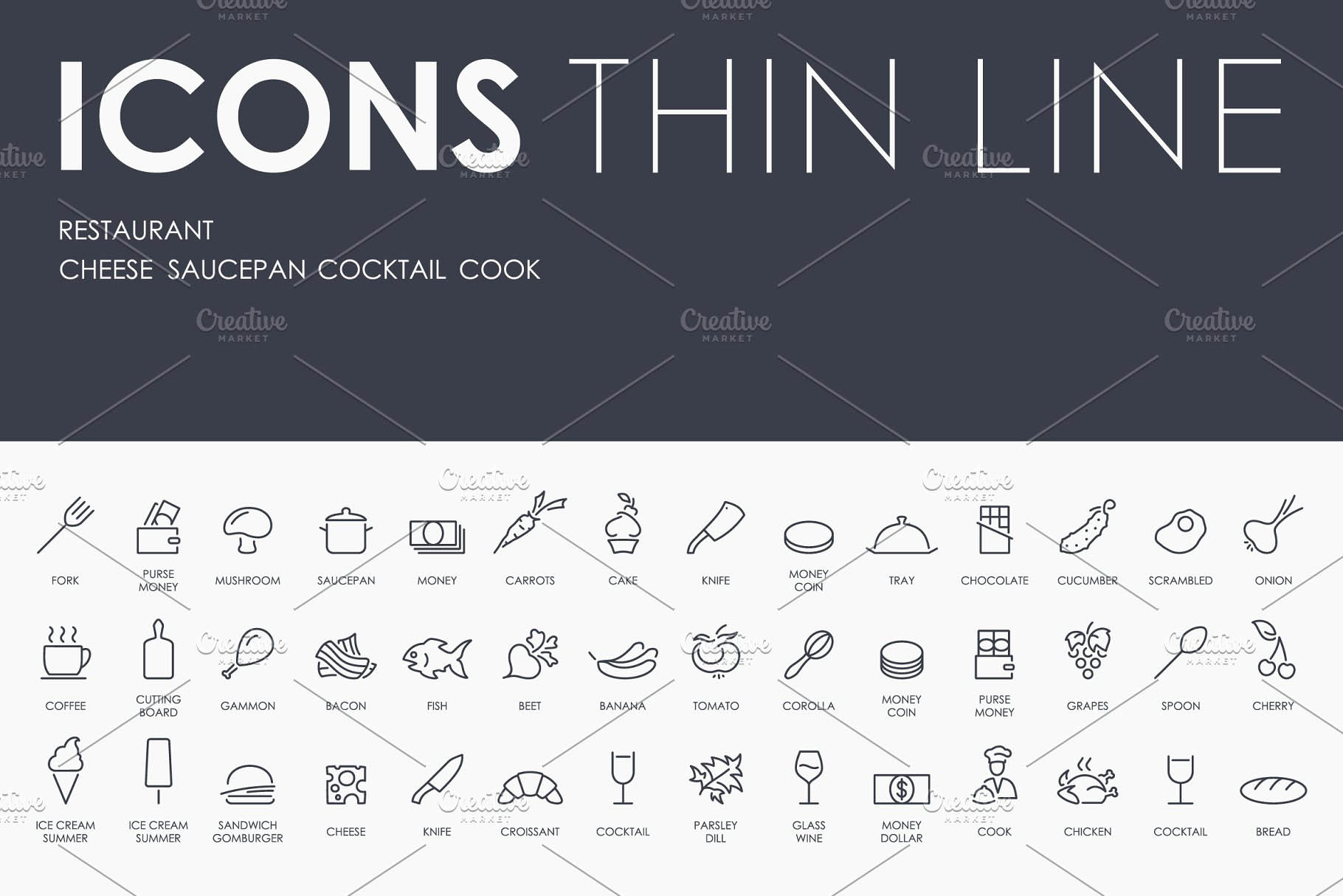 餐厅线型图标 Restaurant thinline icons
