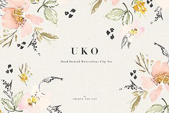 水彩花卉设计素材剪贴画 Watercolour Clip Art – Uko