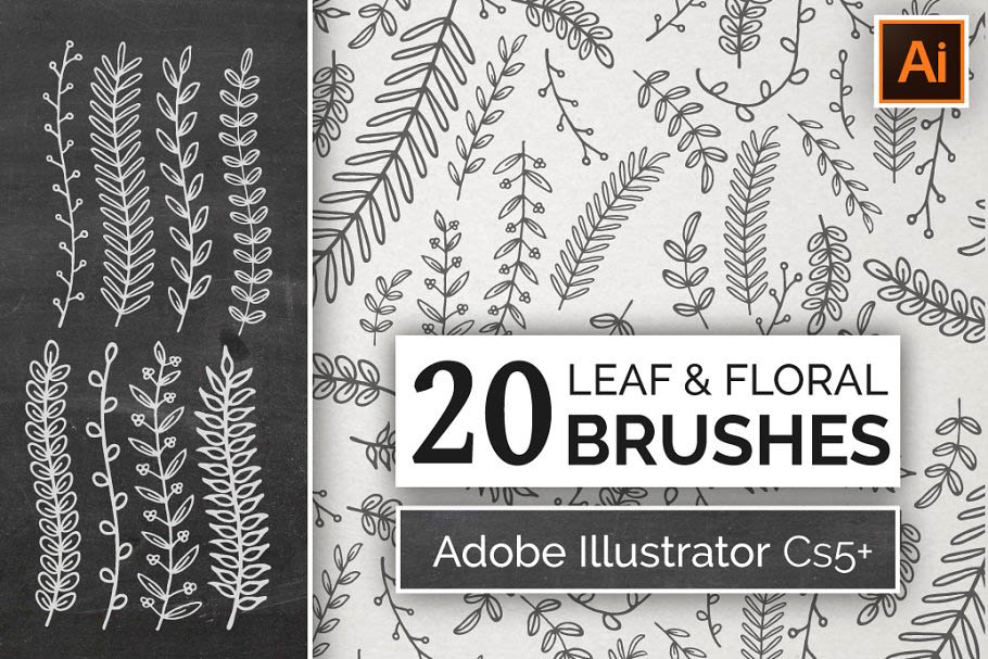 手绘花卉叶子笔刷 Hand Drawn Floral Leaf Brushes