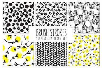 花卉笔刷无缝图案 Brush Strokes. Seamless Patterns v.5