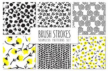 花卉笔刷无缝图案 Brush Strokes. Seamless Patterns v.5