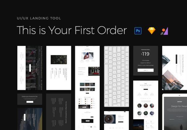 一套完美的网页落地页(landing pages)UI/UX页套装下载[PSD,Sketch]